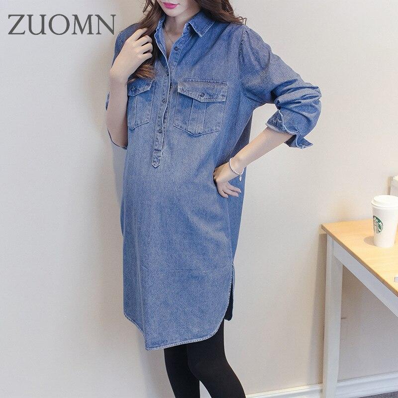 690547d8344 새로운 데님 드레스 임신 여성 청바지 여성 캐주얼 긴 소매 옷 출산 드레스 의류 YL287