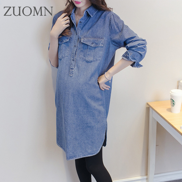 341facaf201 New Denim Dresses Pregnant Women Dress Jeans Dress for Women Casual Cotton  Long Sleeve Clothes Maternity