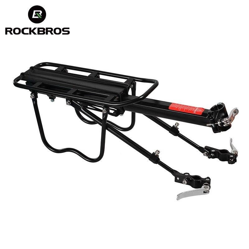Rockbros все быстрое освобождение заднего багажника алюминиевого сплава MTB велобагажником держатель велосипеде путешествия багажник черный