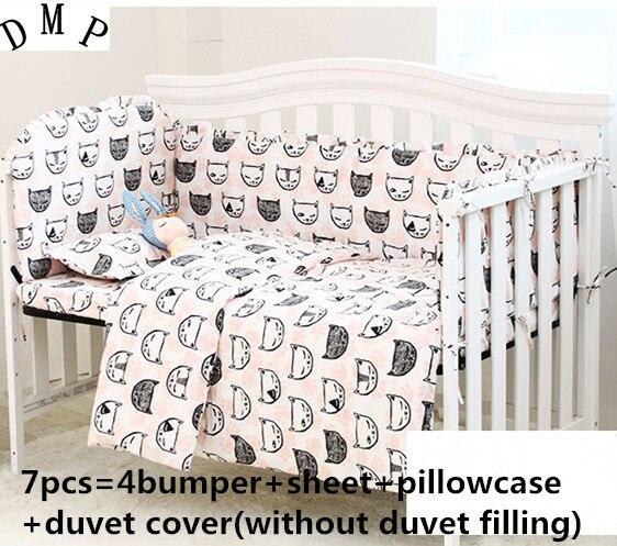где купить Promotion! 6/7PCS Cartoon Cute Character Baby Bedding Set Cot Bedding for Kids 100% Cotton,120*60/120*70cm по лучшей цене