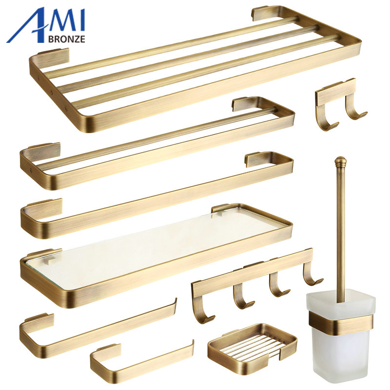 FZ Series Antique Brushed Brass Bathroom Accessories Bath Hardware Towel Bar Paper Holder Cloth Hook Soap Dish 513A luxury european brass bathroom accessories bath shower towel racks shelf towel bar soap dishes paper holder cloth hooks hardware page 3