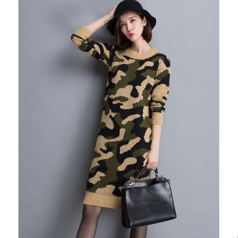 Womens Sweaters Fashion 2016 Ladies Fashion Design in Long Camouflage Loose Women s Designer Wool Coats