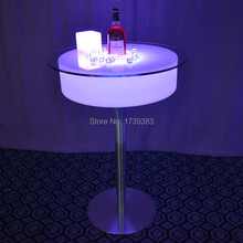 Modern Plastic bar pub illuminated led cocktail coffee table rechargeable remote control Table basse lumineuse
