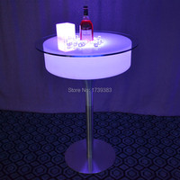 Modern Plastic Bar Pub Illuminated Led Cocktail Coffee Bar Table Rechargeable Remote Control Table Basse Lumineuse