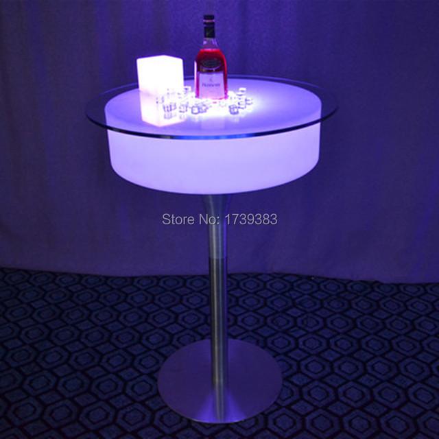 Plástico moderno bar pub iluminado levou mesa de cocktail bar café de controle remoto recarregável Tabela basse lumineuse
