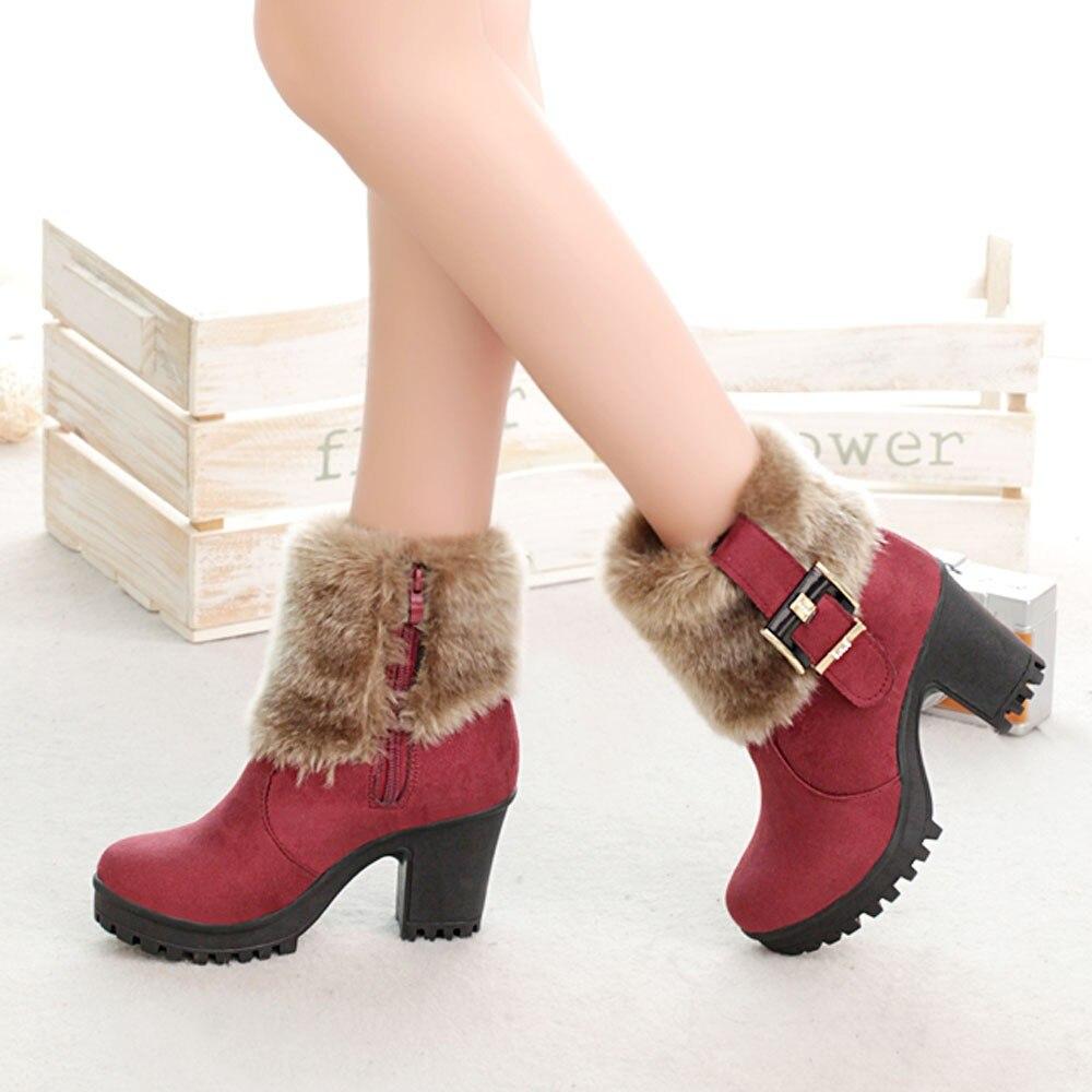 Sagace Cc Corto A Otoño Zapatos Botas b Felpa Hebilla Tubo Grueso Cuero Caliente Suave Invierno Martin c Con De ZxZHnaqr
