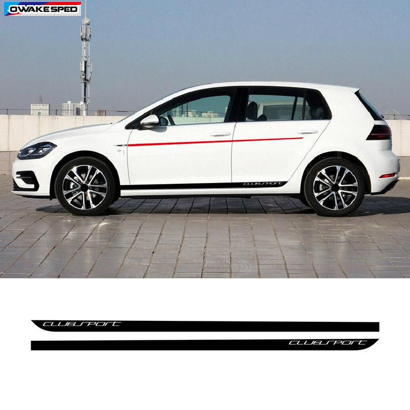 Clubsport Styling Body Customized Sticker For Volkswagen <font><b>Golf</b></font> <font><b>7</b></font> MK7 Auto Side Skirt Stripes <font><b>Carbon</b></font> <font><b>Fiber</b></font> Vinyl Decal image