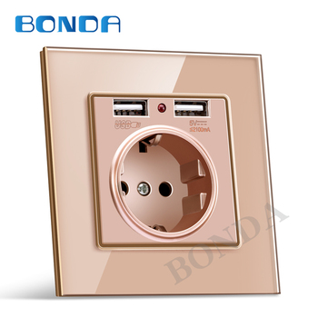 цена на EU wall Power plug Socket with usb outlet, Glass 2A Dual USB Charger plug wall outlet, 16A 2100ma Electrical Wall Power Socket