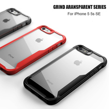 For iPhone 5 5s SE Case Soft Silicone+Transparent PC Armor Shockproof Back cover Case for iPhone 5 5s full cover phone shell sgp tough armor series air cushion case for iphone se 5s 5 black white