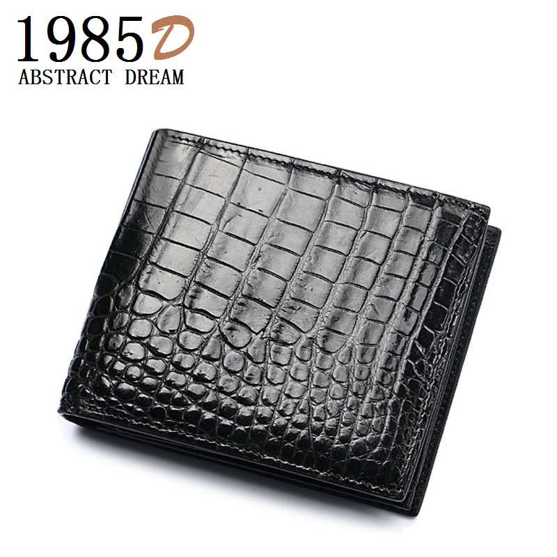 цена на Designer Classic Black & brown Genuine Crocodile Leather mens Card Holder natural skin Wallet folder Short Crocodile skin Clutch