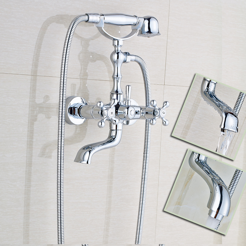 Polished Chrome Bathroom Dual Handle Bathtub Sink Faucet Wall Mounted Telephone Style Tub Mixer Taps With Hand Shower In Faucets From Home