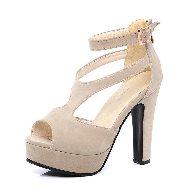 QUTAA 2017 Women Pumps Summer Black Ladies Shoe Square High Heel Peep Toe PU Leather Zipper Woman Wedding Shoes Size 34-43 8