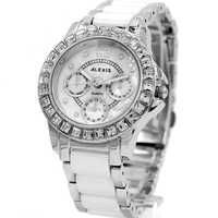 Alexis Brand Water Resist Fashion Rose Gold Silver Black White Ceramic Jewelry Women Ladies Bracelet Quartz Watch FW830G