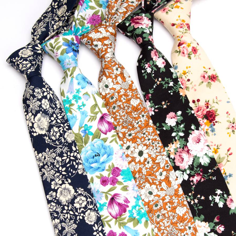 Mens Necktie Cotton 6cm Print Flowers Slim Ties Men Fashion Bowtie Wedding Party Dress Neck Tie Handkerchief Man Accessories