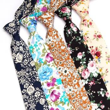 Mens Necktie Cotton 6cm Print Flowers Slim Ties Men Fashion bowtie Wedding Party Dress Neck tie handkerchief man accessories cartoon fish doodle print tie bowtie and handkerchief