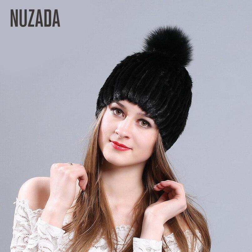 Brand NUZADA Winter Cap Women Lady Girl Knitted Hat Fox fur Mink Fur   Skullies     Beanies   Fashion Warm Function Caps
