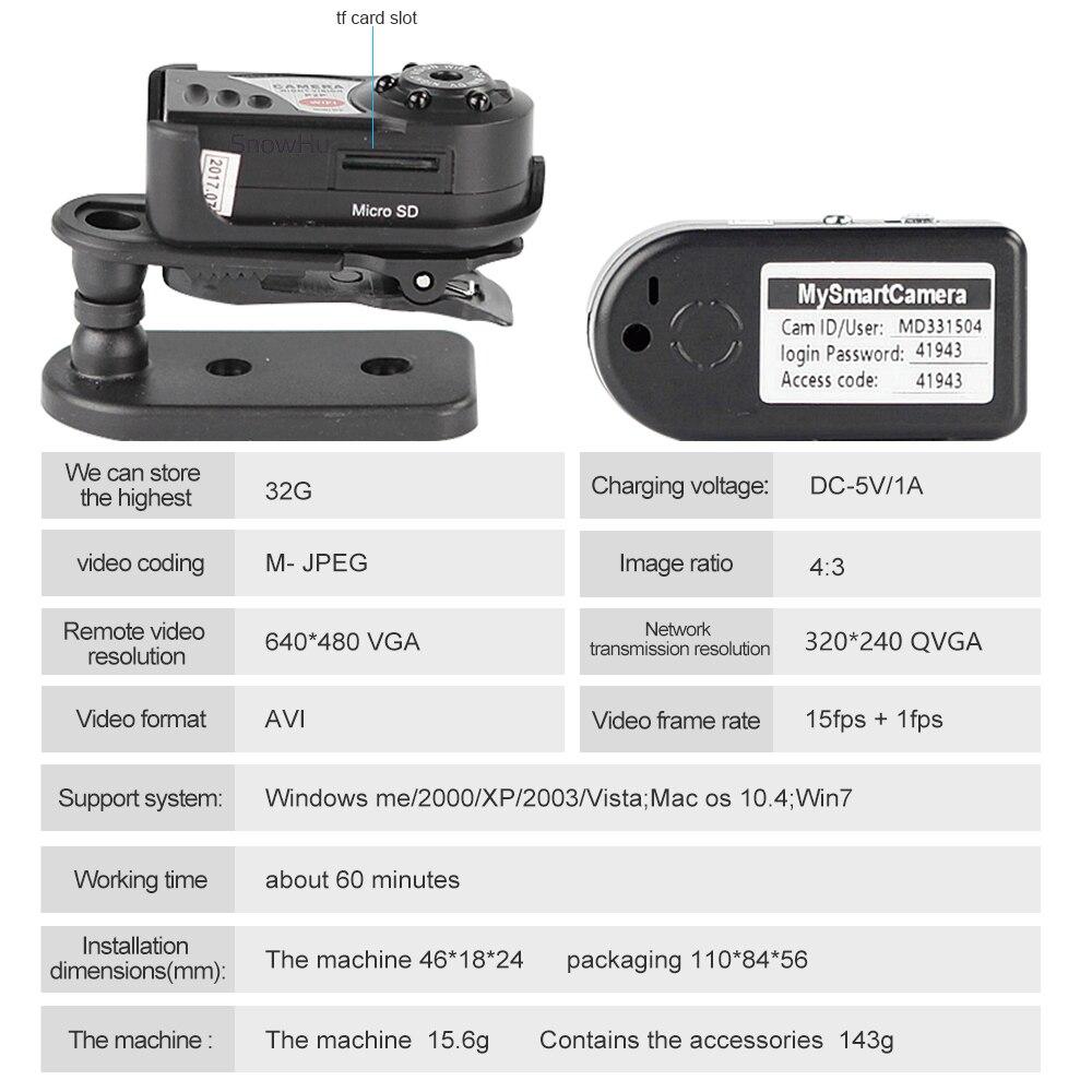 SnowHu night vision camera mini camera Q7 Mini Wifi camera video