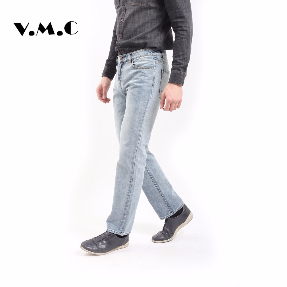 New jeans men VMC brand-clothing blue straight Full Length Cotton Softener denim pants male top quality stretch jeans pants men s jeans men male pants 2017 new men s cotton denim trousers vmc brand men s mid waist straight fashion casual pants