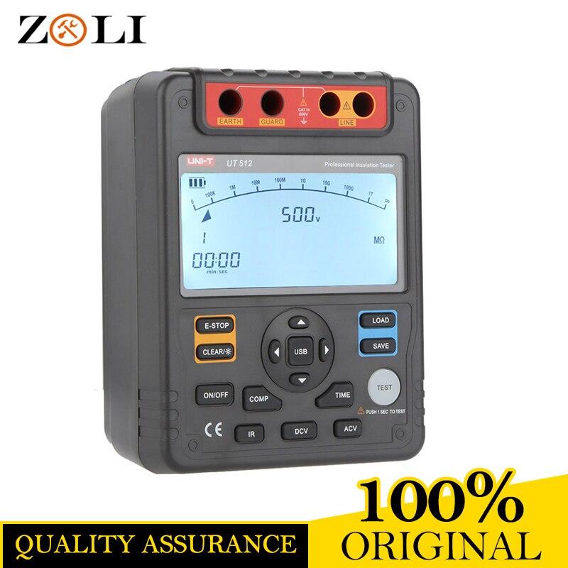 DATE UT512 Numérique Résistance D'isolement Testeurs Voltmètre Auto Gamme 2500 v 100 w/USB Interface UNI-T UT512 SUR VENTE