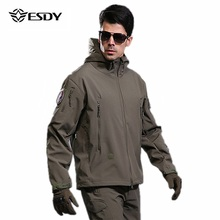 ESDY Men Outdoor Jacket Waterproof Fleece warm TAD Coat Shark Skin Soft Shell Hoodie Hunting Duty Camping Hiking Clothing outdoor sports tad shark skin soft shell camo jacket or pants men hiking hunting clothes camouflage tactical military clothing