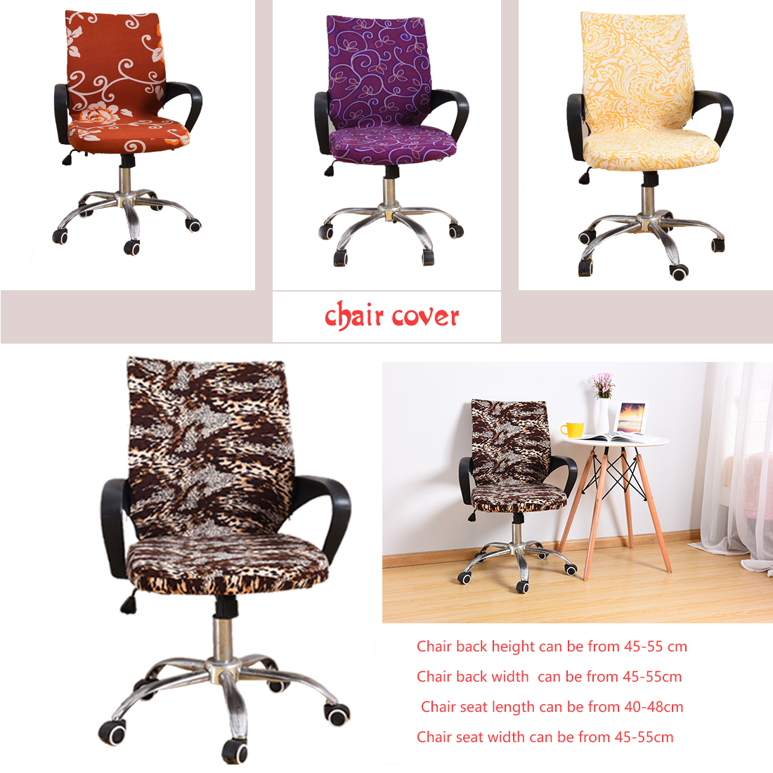 Chair-Covers-Spandex Polyester Computer Chair Cover Spandex Covers for Chairs Lycra Chair Stretch Case to Fit office Chairs