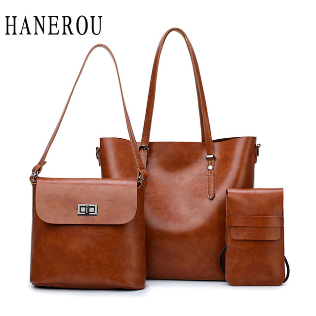 2bd33ca043 HANEROU 3 Pcs Set Women Handbags Big Tote Bags 2018 Crossbody Bags For Women  Handbags Oil Wax Leather Retro Womenbag Wholesale