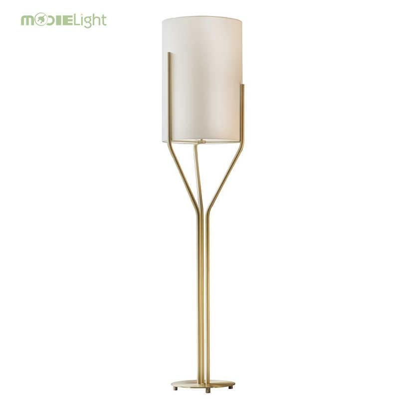 Золото светодио дный LED торшер холст ткань тенты современные светильнике-торшер Светодиодный Освещение Гостиная Кабинет диван сторона офис свет