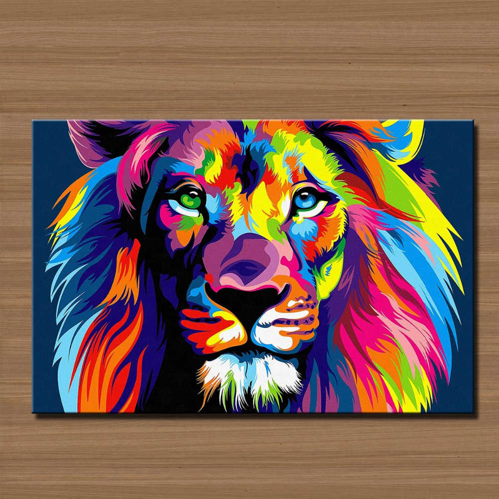 Paintings Promotion Animal Real Fallout Painting Cuadros Canvas Free Shipment Wall Art Picture For Lion's Head Paint On Prints