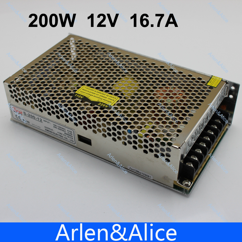 200W 12V 16.5A Single Output Switching power supply for LED Strip light AC to DC best quality 12v 15a 180w switching power supply driver for led strip ac 100 240v input to dc 12v