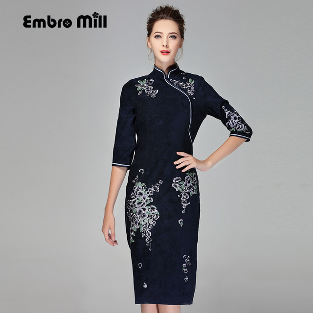 Chinese traditional clothing women blue Suede dress winter vintage floral  embroidery elegant lady beautiful Qipao dress M-XXL 24a384f83b93