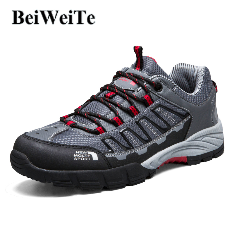 BeiWeiTe Mens Summer Hiking Shoes Anti-skid Camping Trail Trekking Sneakers For Men Light Fishing Sport Outdoor Shoes 2018 NEW