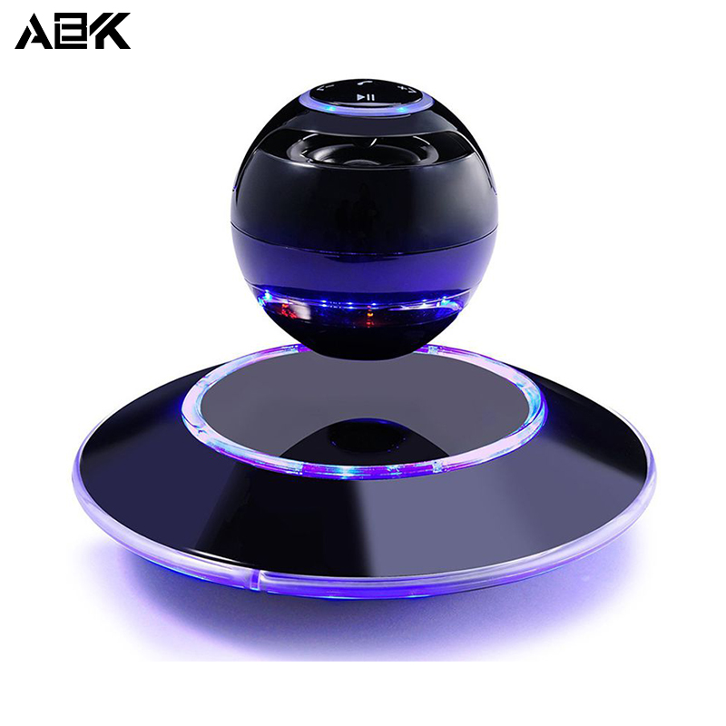 ALBK Magnetic Levitation Speaker Portable Wireless Floating Orb bluetooth stereo rotating 360 degree speakers With LED Bulb 500g magnetic levitation intelligent digital movement bluetooth speaker accessories creative gifts diy pot stereo speakers