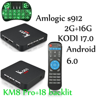 KM8 PRO Smart TV Box Android 6 0 Amlogic S912 Octa Core 2GB 16GB KODI 17