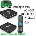S912 KM8 PRO Smart TV Box Android 6.0 Amlogic Octa-core 2 GB 16 GB KODI 17.0 VP9 H.265 4 K Daul WiFi 1000 M LAN Caixa De TV PK A95x MATAR