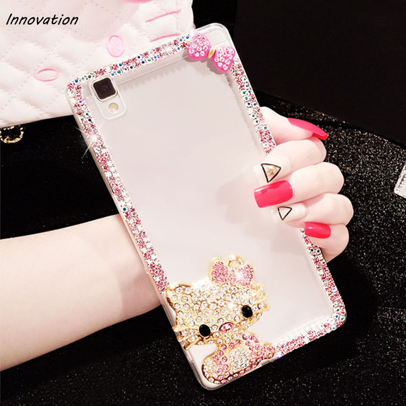Innovation New Luxury Hard Plastic Crystal Clear Case For iphone 8 7 Plus 6 6S 5 5S Hello Kitty Bow Cover Phone Bag For iphone X