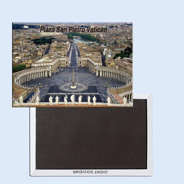 Aimants de réfrigérateur de voyage 78*54mm,Plaza San Pietro, aimants de réfrigérateur rigides de voyage de la ville du Vatican 24939