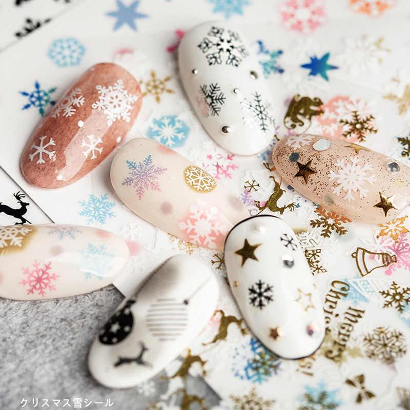 Folha 1 3D Personalidade Decalques de Água Da Arte Do Prego Adesivos Coloridos forma de neve em Unhas de Leão Adesivos Manicure Z0121