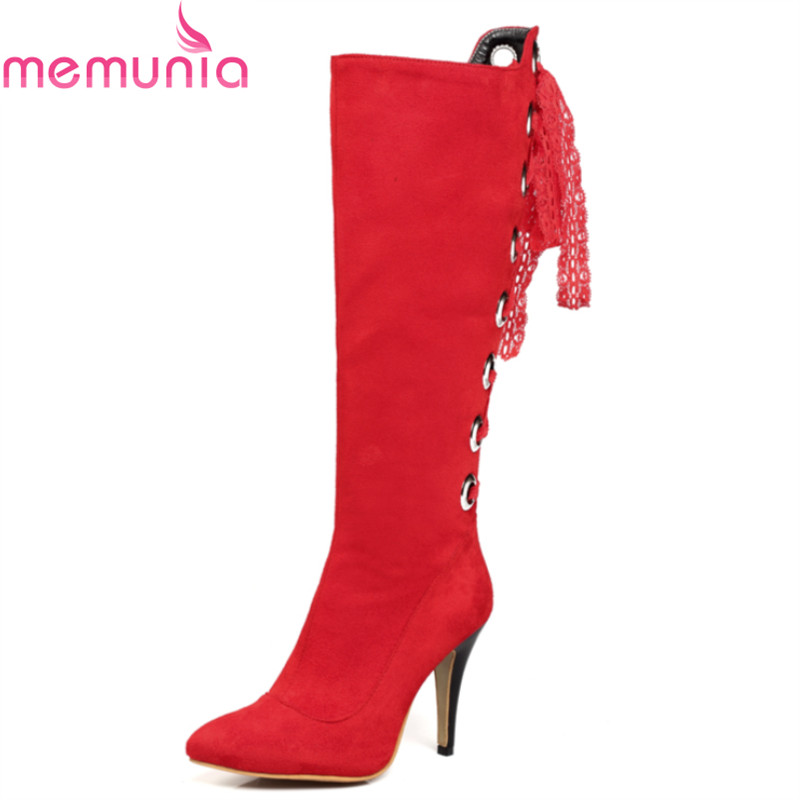 MEMUNIA Big size 34-43 new hot sale stiletto high heels pointed toe women boots high quality pu nubuck leather knee high boots