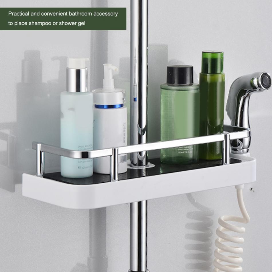 Fdit Practical Bathroom Pole Shower Storage Rack Holder Organizer ...