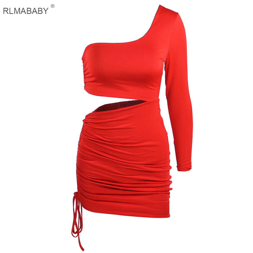 24e3ba046568 ... RLMABABY One Shoulder Sexy Dress Women Long Sleeve Hollow Out Bodycon  Dress Vestido Streetwear Backless Bandage