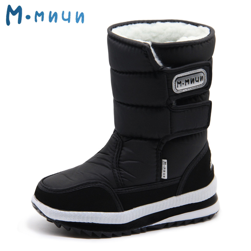 MMNUN Winter Shoes for Children Warm Winter Boots for Boys Big Kids Girls Children Winter Boots Baby Shoes Size 31-38 ML930C big size winter warm leisure shoes