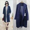 Новый зимнее пальто 2016 женщин большой длинный участок женский карман для женщин с длинными рукавами джинсовой куртке
