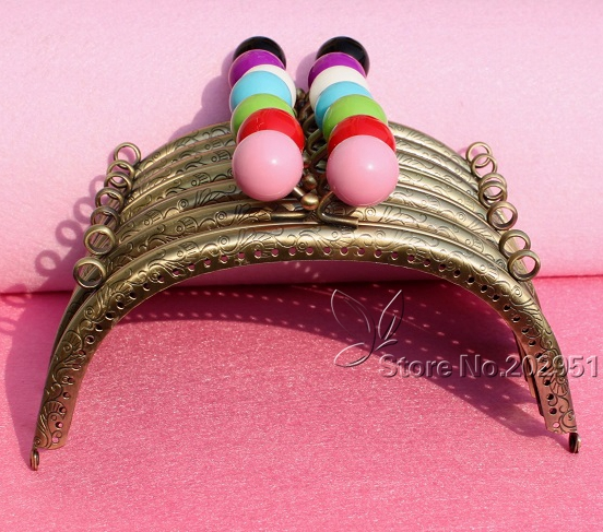 10pcs Wholesale 16 5cm Bronze Metal Coining Pattern Coin Purse Frame 10 Color Candy Head Bag