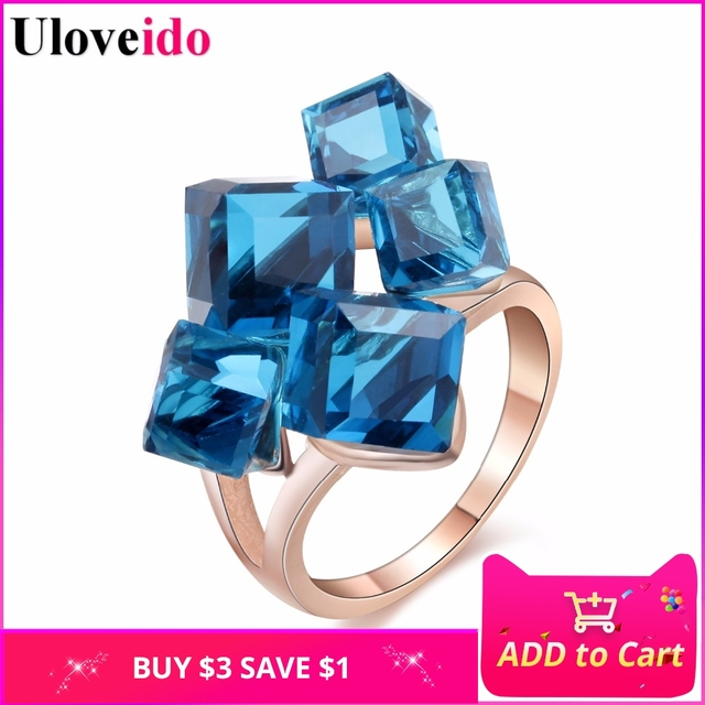 Uloveido Sale Gifts for New Year Rose Gold Color Jewelry Woman's Crystal Square