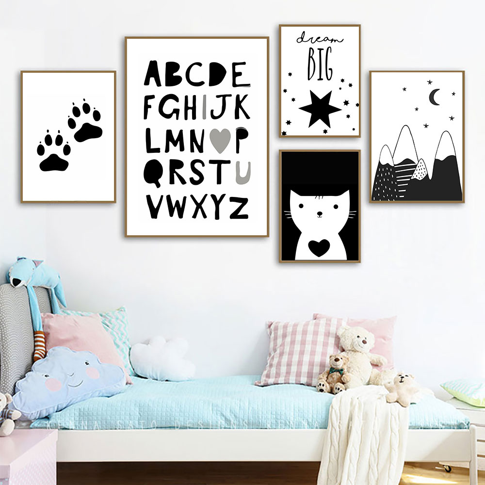 Baby Poster Cat Picture Black And White Pictures Kids Bedrooms Cartoon Mountain Prints Quote Painting Unframed