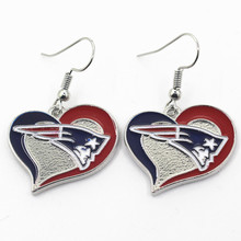 New Arrive Heart Charm Sports Earrings New England Patriots Football Team Earrings Charms Jewelry Women Erring 6pair/lot