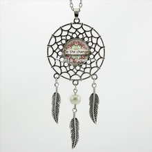 2017 Trendy Style Dream Pendant Be the Change Necklace Be the Change Mandala Jewelry Silver Dreamcatcher Necklace DC-00181