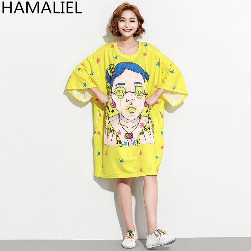 HAMALIEL Harajuku New Summer T Shirt Dress 2018 Oversize Yellow Print Character Loose Dress Casual Short Sleeve Straight Dress