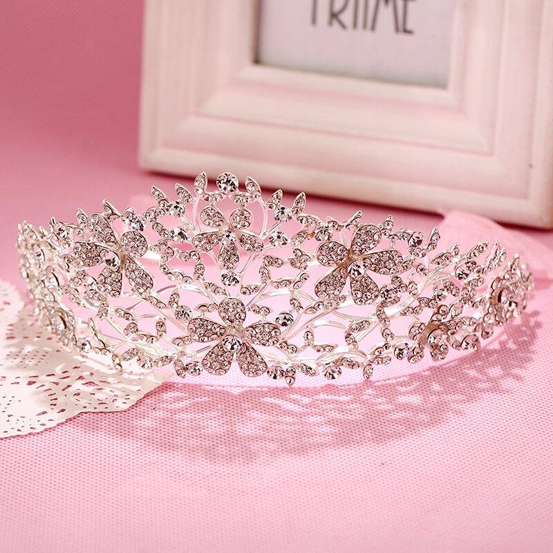 High Quality Big Silver Wedding Bridal Crown&Tiara Romantic Design Shining Crystal Rhinestone Hair Jewelry For Bride Party