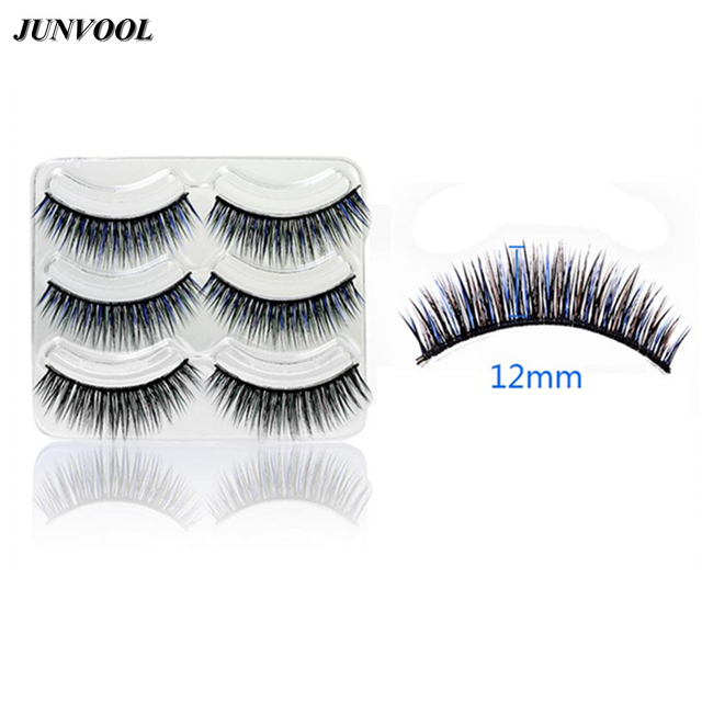 8fdca64f828 ... Natural Feather False Eyelashes Colorful; Colorful Eye Lashes Extension  3 Pairs Color Black Blue False ...